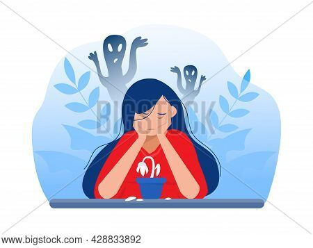 Depressed Girl With Anxiety And Scary Fantasies Feeling Sorrow,fears, Sadness Vector