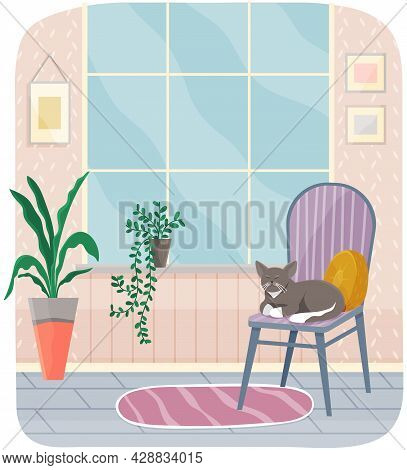 Interior Of Room, Cat Sitting On Chair, Striped Carpet And Large Window. Living Room Interior With C