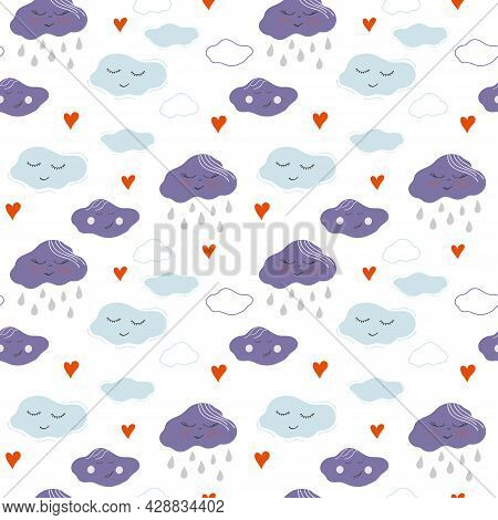 Seamless Pattern With Clouds, Rain Drops And Hearts. Hand Drawn Vector Illustration For Kids Textile