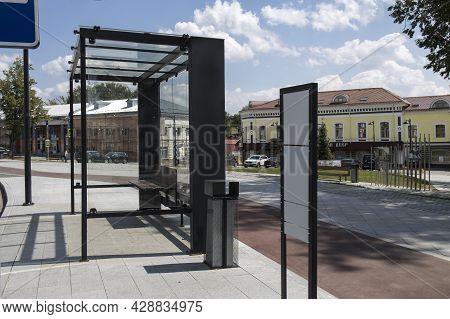 Serpukhov, Russia - June 18, 2021: Modern Bus Stop In The City Center On Lenin Square