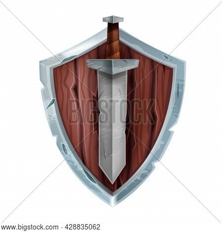 Wooden Game Shield Badge, Vector Medieval Knight Battle Armor, Iron Sword Isolated On White. Ui Figh