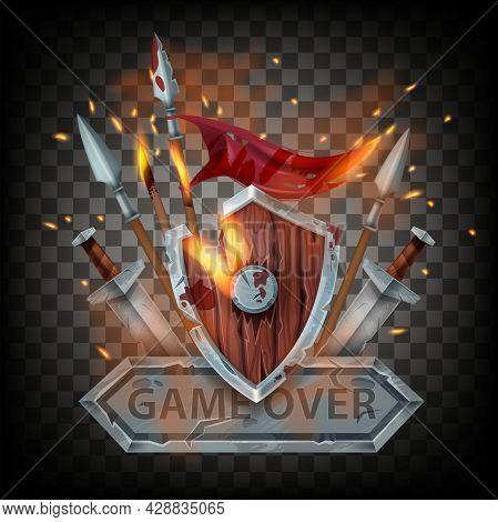 Game Over Final Badge, Battle End Sign, Medieval Wooden Shield, Spear, Sword, Fire Sparkles, Burning