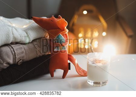 Autumn Cozy Still Life With Toy, Candles And Leaves. Cozy Fall House Decor, Thankgiving Concept. Fla