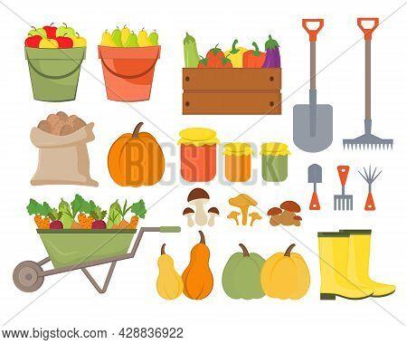Set Of Autumn Elements, Harvest Concept. Set For Decorating An Autumn Party, Farmers Market, Harvest