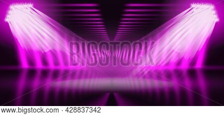 Ray Light Of Pink And Purple Color. Colorful Vibrant Blurred Shine Abstract Background. Defocused Br