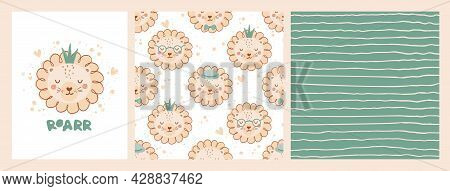 Set Cute Poster And Seamless Pattern With The Face Of Lion In Crown And Poster With The Lettering Ro