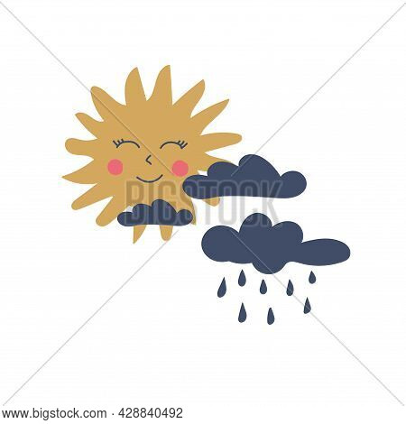 Hand Drawn  Sun And Clouds With Rain For Babies. Cute Design Element For Children's Room. Printable