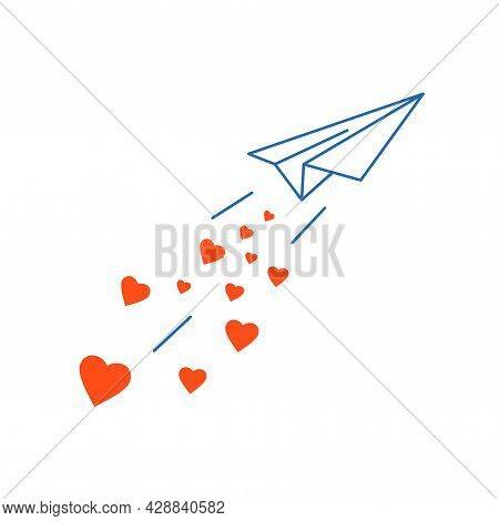 Launch Paper Plane With Love. Airplane Flying Scattering Red Heart Shapes. Sharing Love. Charity, Vo