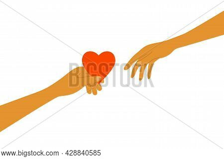 Sharing Love. Human Hand Holds Out Red Heart Shape To Another Person. Charity, Volunteer Work Concep