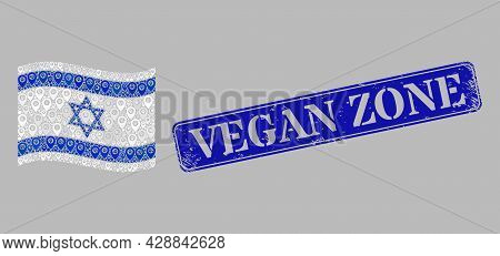 Mosaic Pointer Waving Israel Flag Constructed With Site Elements, With Distress Blue Rectangular Veg