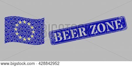 Mosaic Navigation Waving Europe Flag Constructed With Map Elements, With Textured Blue Rectangle Bee