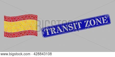 Mosaic Pointer Waving Spain Flag Created With Pin Icons, With Grunge Blue Rectangular Transit Zone B