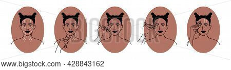 Vector Icons Set Of Facial Massage By Jade Or Quartz Face Roller. Young Woman Showing How To Use Mas