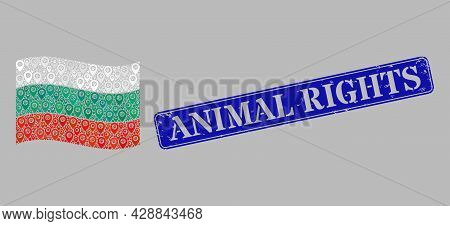 Mosaic Navigation Waving Bulgaria Flag Designed With Tag Icons, With Scratched Blue Rectangular Anim