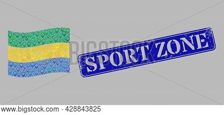 Mosaic Navigation Waving Gabon Flag Designed With Direction Elements, With Rubber Blue Rectangle Spo