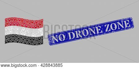 Mosaic Navigation Waving Yemen Flag Designed Of Route Elements, With Scratched Blue Rectangular No D