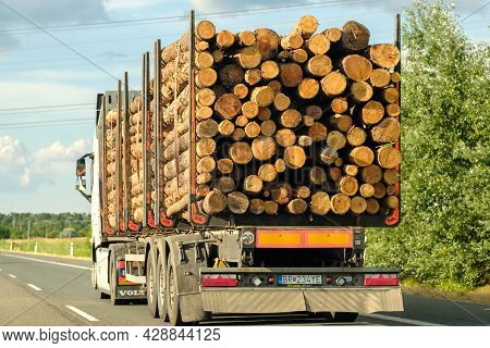 A Timber Truck Transports Logs On The Highway. Timber Transportation. July 2021, Czech Republic, Pra