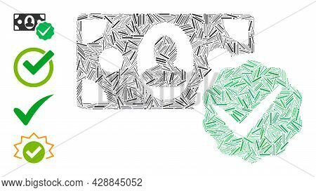 Line Collage Paid In Full Icon United From Thin Items In Random Sizes And Color Hues. Line Items Are