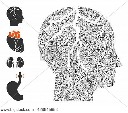 Linear Mosaic Brain Cancer Icon Organized From Narrow Items In Variable Sizes And Color Hues. Line I