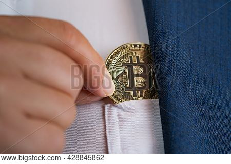 Focus Select Close Up And Blur Foreground Bitcoin Btc Included With Cryptocurrency Hand Picked In Su