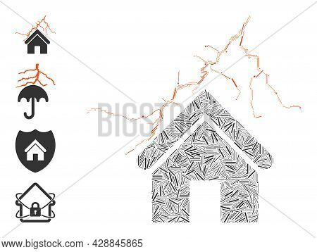 Hatch Mosaic Home In Thunderstorm Icon Organized From Narrow Elements In Variable Sizes And Color Hu