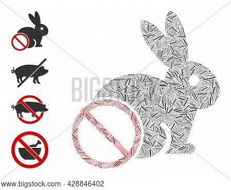 Hatch Collage No Rabbit Meat Icon Composed Of Thin Items In Various Sizes And Color Hues. Irregular