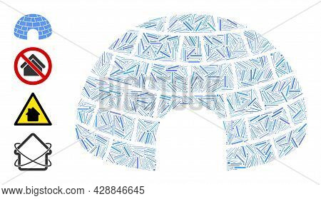 Hatch Collage Igloo Icon Designed From Straight Items In Various Sizes And Color Hues. Irregular Hat