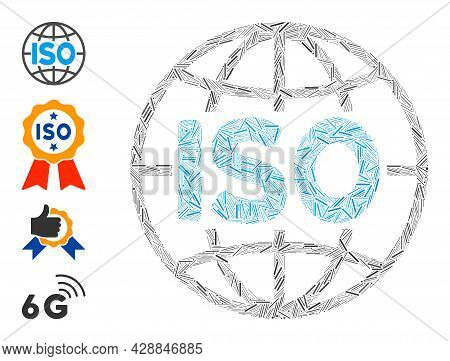 Line Mosaic Iso Standards Icon Organized From Narrow Items In Different Sizes And Color Hues. Line I