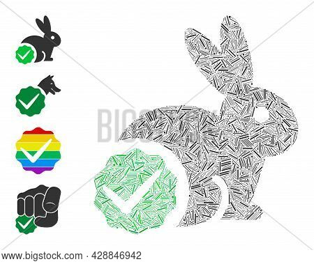 Hatch Collage For Rabbits Only Icon Organized From Thin Elements In Different Sizes And Color Hues.