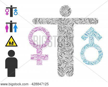 Hatch Mosaic Bisexual Man Icon Designed From Straight Items In Different Sizes And Color Hues. Irreg