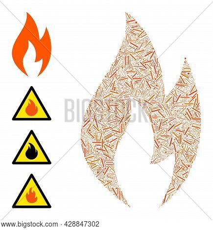 Linear Collage Fire Flame Icon United From Straight Elements In Variable Sizes And Color Hues. Linea