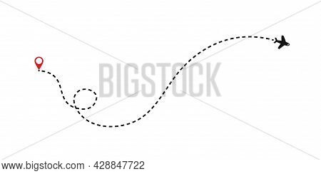 Route Of The Plane. Airplane Flight Path With Dash Line And Dash Line Trace. Vector