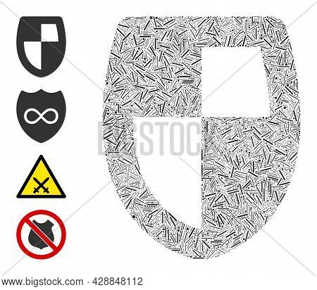 Linear Collage Shield Icon Constructed From Narrow Items In Various Sizes And Color Hues. Linear Ite