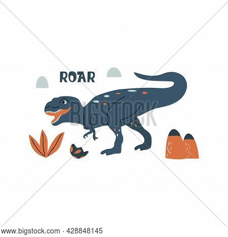 Tyrannosaurus Rex Dinosaur. Large Extinct Ancient Carnivorous Reptile, Jurassic. Roar Print. Colorfu