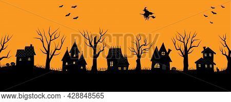 Halloween Houses. Spooky Village. Seamless Border. Black Silhouettes Of Houses And Trees On An Orang
