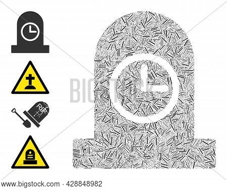 Line Mosaic Expired Grave Icon Constructed From Narrow Items In Various Sizes And Color Hues. Lines