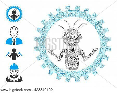 Hatch Collage Mad Engineer Icon United From Thin Items In Random Sizes And Color Hues. Irregular Hat