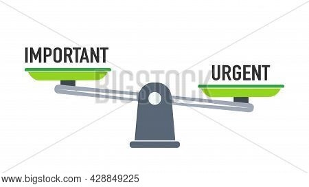 Important Or Urgent Concept, Important And Urgent Balance On Scale, Flat Design.