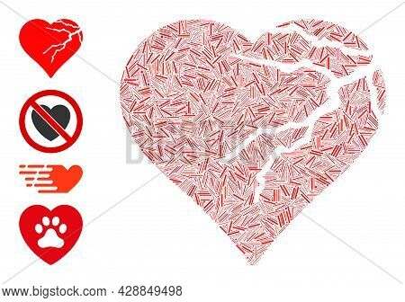 Hatch Mosaic Corrupted Love Heart Icon Organized From Thin Items In Variable Sizes And Color Hues. I