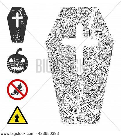 Line Mosaic Old Coffin Icon Constructed From Thin Items In Various Sizes And Color Hues. Line Items