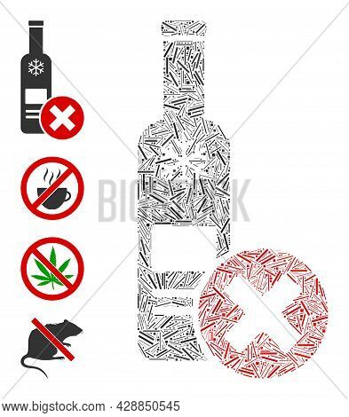 Line Mosaic Stop Vodka Drinking Icon United From Thin Items In Various Sizes And Color Hues. Line It