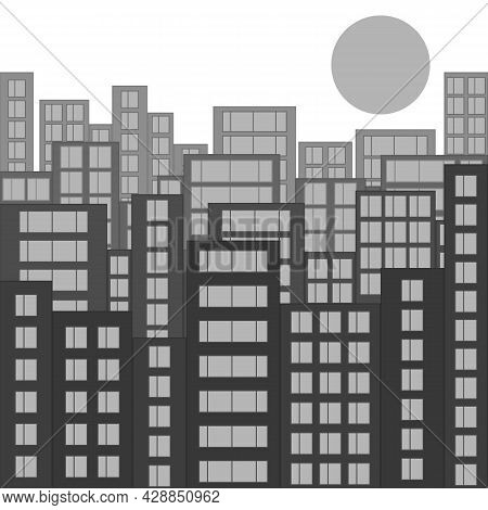Modern City Skyline. Gray Cityscape With Silhouettes Of Houses And Windows. Morning Or Daytime With