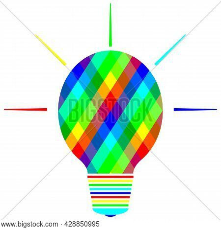 The Light Bulb With Bright Colorful Rhombuses. Bright Light Bulb Of Green, Blue, Red And Yellow Colo