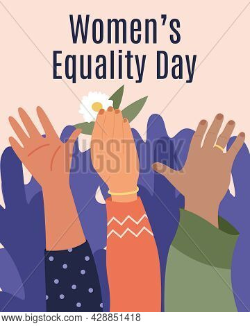 Women Equality Day. Women's Hands Go Up And Vote For Freedom And Equality Of Women On A Pink Backgro