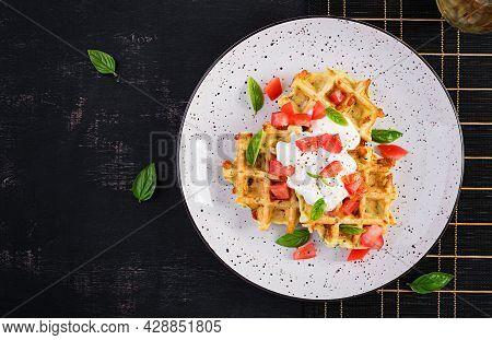 Zucchini Waffle, Zucchini Fritters Cooking On Waffle Maker, Vegetarian Zucchini Waffles With Tomatoe