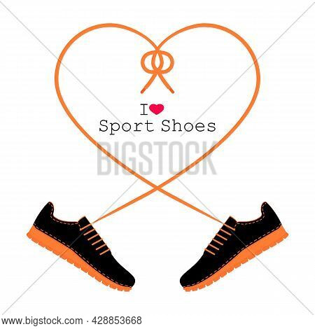 A Pair Of Sneakers And A Heart Shaped Shoelaces. A Pair Of Gym Shoes With Long Laces. I Love Sport S