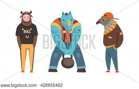 Animal Character Wearing Human Clothing Holding Hands In Pocket And Lifting Heavy Kettlebell Vector