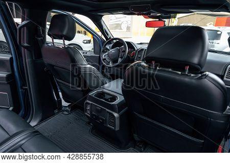 Ukraine, Odessa July 8 - 2021: Ford F-350 Raptor Car Interior Of A Premium Car. The Back Seat Of Pre