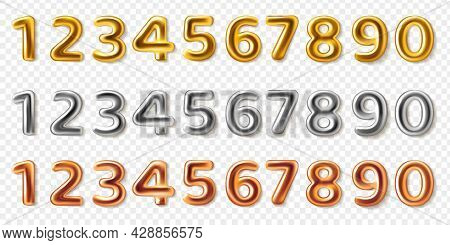 Realistic Metal Numbers. 3d Steel Numeral Shapes, Pink Gold, Silver And Bronze, Anniversary And Birt
