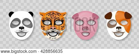 Cosmetic Animal Face Mask. Skin Caring Cotton Masks With Funny Animal Faces Design, Panda And Tiger,